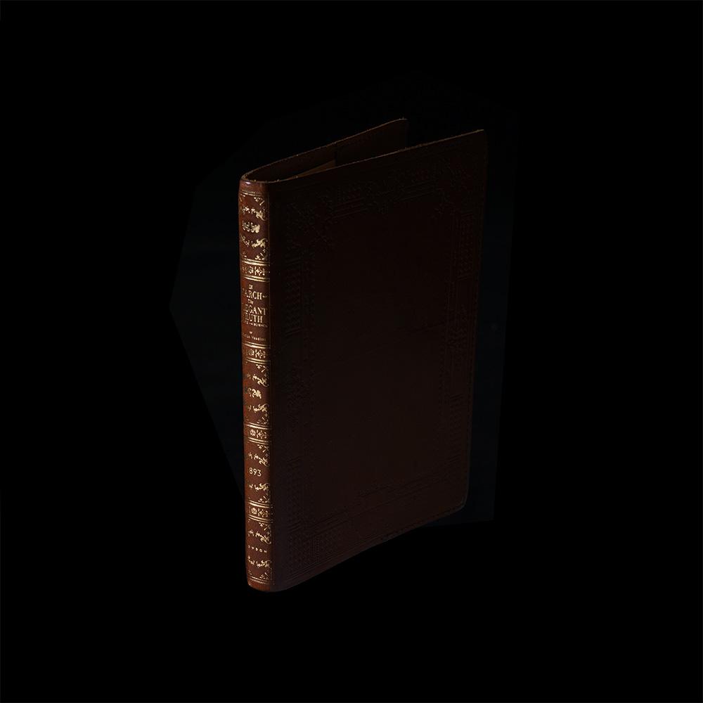 V. Sabrina,サブリナ,レザー,ブックカバー,箔押し,アンティーク,金箔,茶,ブラウン,文庫本